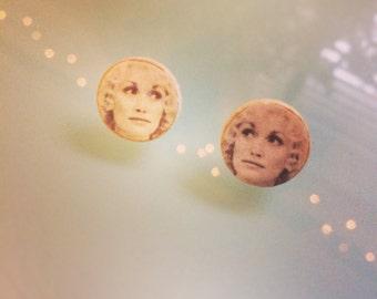 Young Dolly Parton Earrings - Wood Post, Stud Earrings