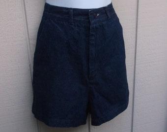 Vintage 80s Denim High Waisted Shorts by St. Germain Paris Jeans // Size Med - Lge