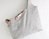 Farmers Market Reuseable Shopping Bag | Knit Crochet Project Tote Bag | Striped Cotton Linen Fabric Tote