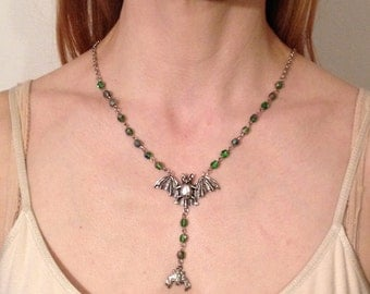 Green Rosary-Shaped Bat Necklace