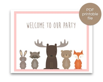 Woodland Party Welcome Sign | Woodland Baby Shower Welcome Sign | Woodland Birthday Banner - Pink - PRINTABLE