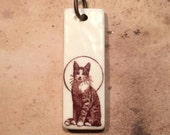Porcelain Ephemera Pendant with Vintage Image of Feline Halo
