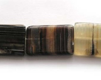 Black Striped Rectangle Agate Gemstone Beads