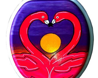 Flamingos In Love Hand Painted Toilet Seat Tropical Vacation Lovers Hawaii Bathroom Wall Art Decor Remodel