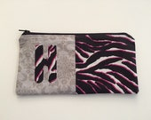 Rsrvd for Heather V   Monogram zipper pouch for notions, pencils, makeup, toys, or use as a small purse