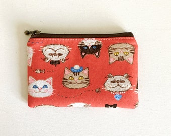 mini zipper pouch  - cat face in red