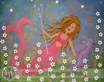 Kids Art Print Children's Decor - Mermaid Horse - Girls Room Kids Wall Art Prints for Baby Nursery, Child & Teen - Neptune's Treasure by TLW