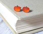 Teeny Tiny Glowing Pumpkin Studs, Vintage Glass Pumpkin Studs, Orange Jack O'Lantern Earrings, Carved Pumpkin Studs, Halloween Jewelry
