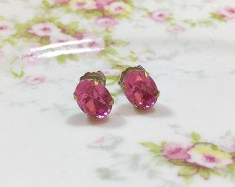 Pink Rhinestone Earrings, Pink Glass Earrings, Pink Wedding Earring,Tiny Rhinestone Earrings, Small Oval Rhinestone Earrings
