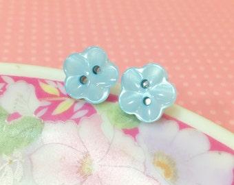 Blue Flower Earrings, Blue Post Earrings, Flower Post Earrings, Pearly Blue Flower Post Earrings Scooped Petals, Button Studs (LB1)