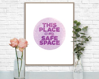 This Place is my Safe Space Digital Print • Purple Watercolor Textured Inspirational Quote • Instant Download Artwork • Home Decor Wall Art