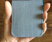 OhSoRetro Mens Wallet / Super Thin Minimalist BiFold Fabric Wallet / Light Grey Wool / Non-Leather Wallet