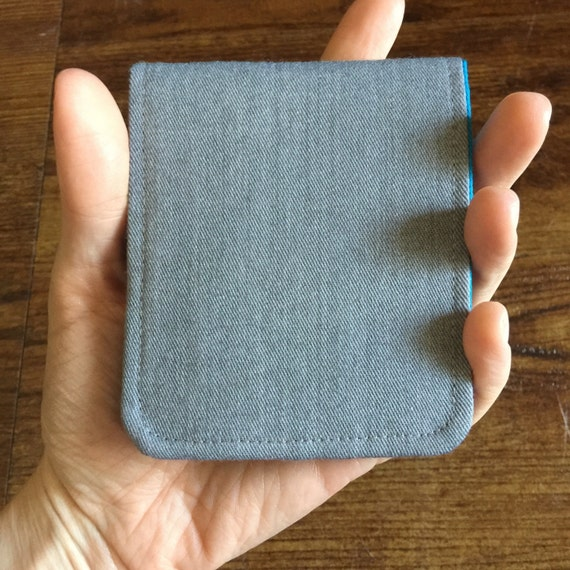 OhSoRetro Mens Wallet / Super Thin Minimalist BiFold Fabric Wallet / Light Grey Wool / Non-Leather Wallet