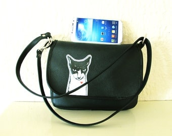 Mean Cat Small Black Leather Purse