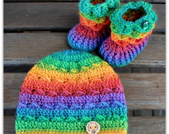 Baby Beanie - Baby Hat - Baby Booties – Wool Baby Shoes - Rainbow Baby Booties  - Bright Baby Booties - Crochet Baby Booties & Hat - Beanie