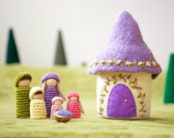 Doll house with family felted wool house wood peg dolls purple and white house
