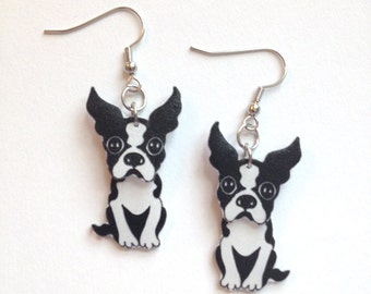 Handcrafted Plastic 3D Boston Terrier Earrings NEW!