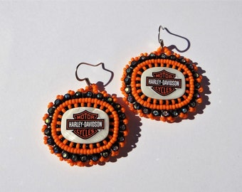 Native American Beaded Harley Davidson Earrings