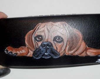 Puggle Dog  Hand Painted Eyeglass Case Sunglass Case