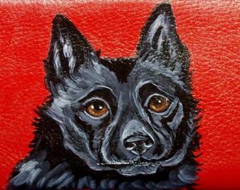 Schipperke dog Custom Painted Leather Women's Wallet Vegan