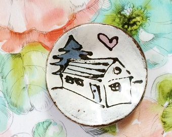 Ceramic dish - house cabin tree - housewarming gift - modern pottery dish pink blue brown rustic white - pottery spoon rest jewelry dish