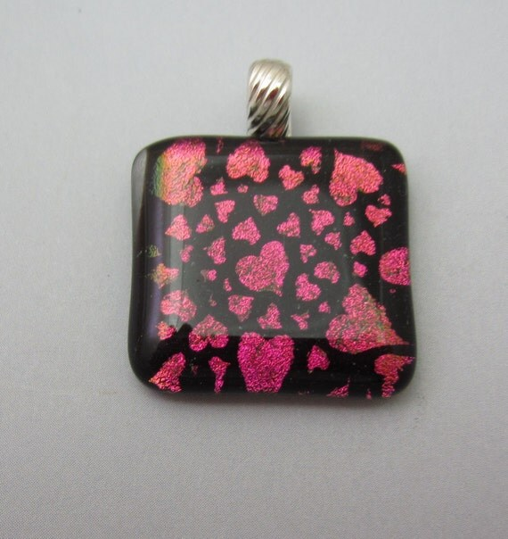 Large Dichroic Pendant Magenta pink hearts fused glass jewelry  sterling silver bail dichroic jewelry, fused glass pendant cerise rose