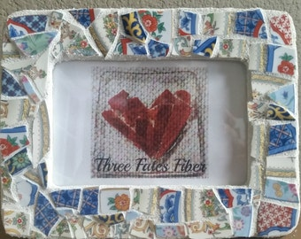 mosaic picture frame - broken china - 4 x 6 picture frame - floral - multi pattern - quilted - recycled dishes - recycled china