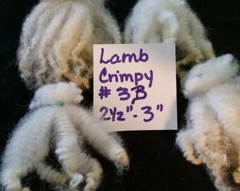 """Santa Beards Natural Lamb Wool Primitive crimpy off white 4 bundles 2.5-3"""" #3B"""
