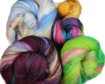 Blind Date batts -- assorted art batts (4 oz.) merino, polwarth wool and assorted luxe add-in fibers  16