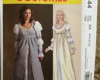 McCall's Costumes Pattern M5444-Medieval Renaissance Dress-New and Uncut-RenFaire, Size AA:  6, 8, 10, 12-Ever After