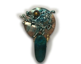 Parrotwing jasper and peridot  pin brooch Sterling Silver and  Married Metals    by Cathleen McLain McLainJewelry