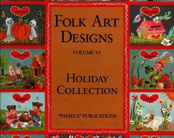 Folk Art Designs Vol. VI Holiday Collection - 1985 - Vintage Book