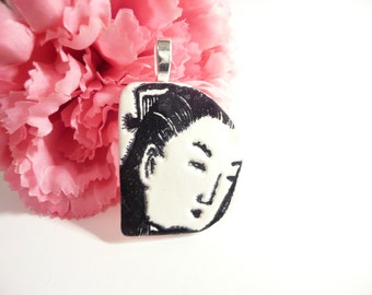 Asian Face Pendant, Oriental Woman, Optional Necklace, Black and White Jewelry, uncommon jewelry, handmade polymer clay