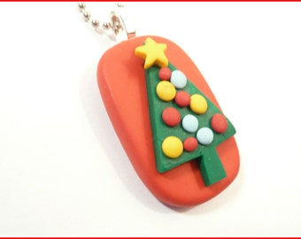 SALE Christmas Tree Jewelry, Colorful Christmas Pendant, Optional Necklace, Holiday Jewelry, Teacher Gift, Whimsical Handmade Polymer Clay