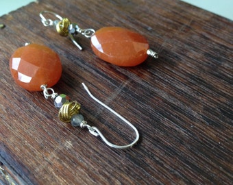 Red aventurine earrings with crystals and labradorite accents