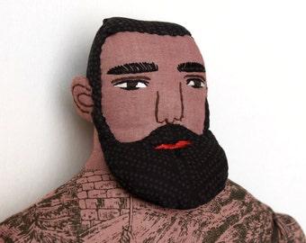 Dark Bearded Tattooed Man doll plush toile