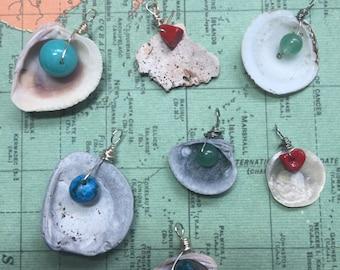 Florida Seashell & Gemstone Bead Pendants