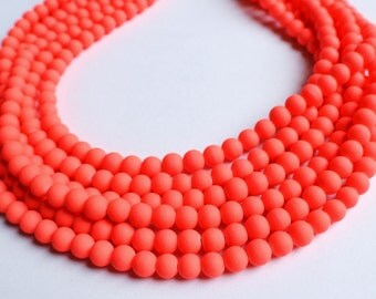 The Michelle- Neon Coral Matte Beaded Statement Necklace