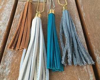 """Leather tassel necklace -- 36"""" GUNMETAL SILVER chain (in teal, brown, gray or natural)"""