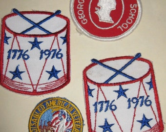 Iron On Patch, Vintage, Sew on Patch, Disabled American Veterans Auxiliary, George Washington School, Drum -- Pick One