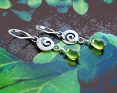 SPIRAL all sterling silver and peridot glass teardrop leverback earrings by srgoddess