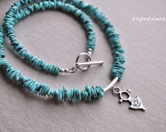 TUAREG sterling silver and campitos turquoise 17.5 inch toggle necklace by srgoddess