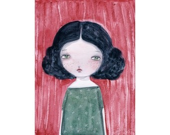 Gabriela - Giclee Reproduction Of Original Watercolor Girl Portrait Folk Painting By Danita Art (Paper Prints and ACEO Wood Mounted)