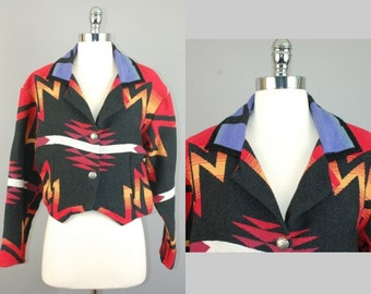 Vtg 80s Southwestern Native american printed 100% cotton Jacket blazer sz S/M