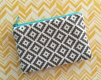 Bohemian bag - small travel accessories bag  - Southwest Bag - gray Zipper Pouch - south west  bag - gray coin purse - summer vibes