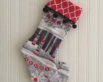 Ready to Ship Christmas Stockings Knitted Trees Deer Black and White and Red Stocking for the Holiday Season- Elf Curled Toe