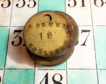 2pcs COLUMBIA SHELTER TOKENS Vintage Heavy Industrial Brass Numbers