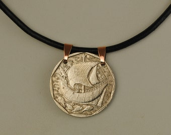 Portugal Coin Necklace 1988 Ancient Sailing Ship
