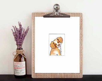 Original Dog Art Brittany Breton Dog Breed ACEO Matted