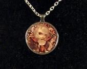 Unseelie Court: Lust round metal necklace by Jasmine Becket-Griffith Art silver dark fairy love urban lusty seven deadly sins sinful